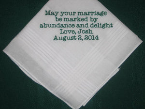 Personalized wedding handkerchief to the bride or groom 169B