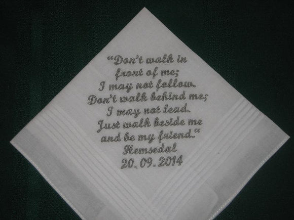 Personalised wedding handkerchief to groom 170S with free gift box and FREE shipping in the US