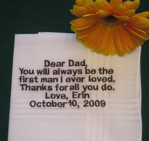 Father of the Bride Hanky 146B handkerchief Personalized Wedding Handkerchief
