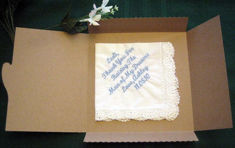 25 Linen Hemstitched Wedding Napkin with bride and groom includes shipping in the US.