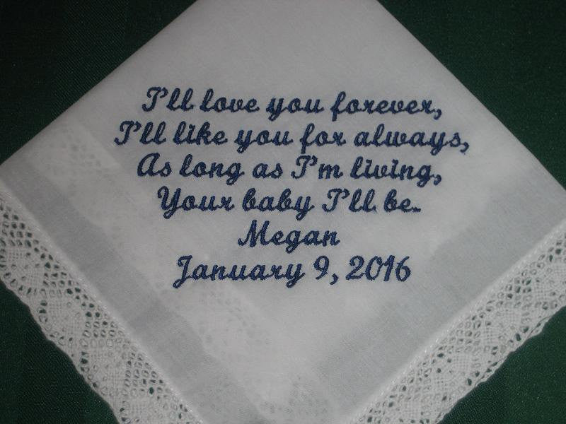 Mother of the Bride Wedding Handkerchief with Gift Box 29S Personalized Wedding Handkerchief