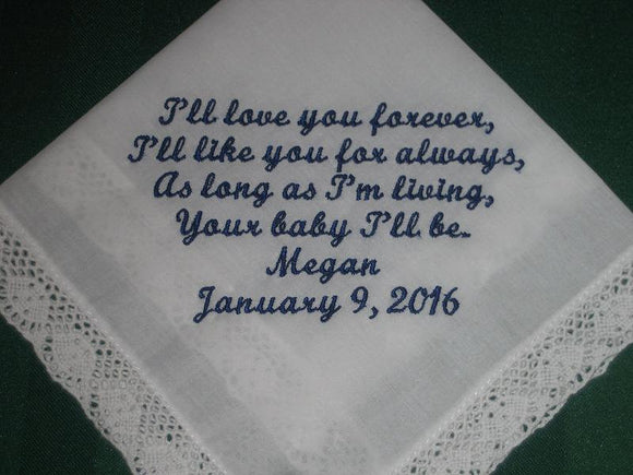 White Personalized Bride to Mother of the Bride Personalized Wedding Handkerchief