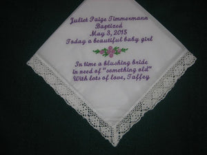 Baby Naming Custom White Handkerchief