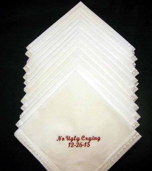 Set of 12 Gift Handkerchiefs - Wedding Favors- Wedding Handkerchiefs- Personalized Hankies-199S