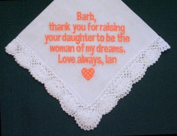 Mother of the Bride Handkerchief – Wedding Handkerchief – 88B