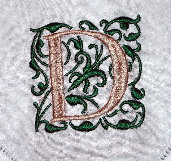 Linen Hemstitched Dinner Napkin with 1 block letterand leaves.Set of 4