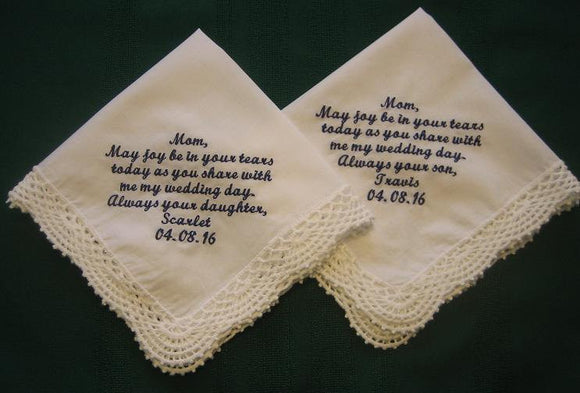 Mother of the Bride and Groom White Handkerchiefs