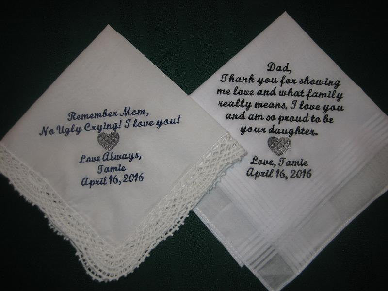 Wedding Handkerchiefs for Mom and Dad Embroidered Wedding Handkerchiefs 202S Embroiderybylinda