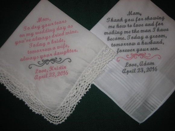 Wedding Handkerchiefs for Moms 203S Mother of the Bride and Mother of Groom Hankies set of two
