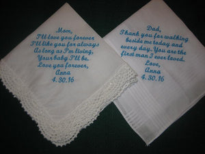 Wedding Handkerchief Gift for Mom and Dad 204S Wedding Gift Embroidered for Mother and Father