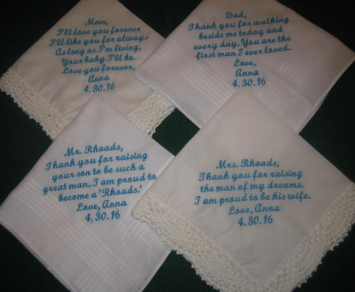 Embroidered Wedding Handkerchief Set for parents of Bride and Groom 205S Set of 4 hankies (FREE shipping in the US)