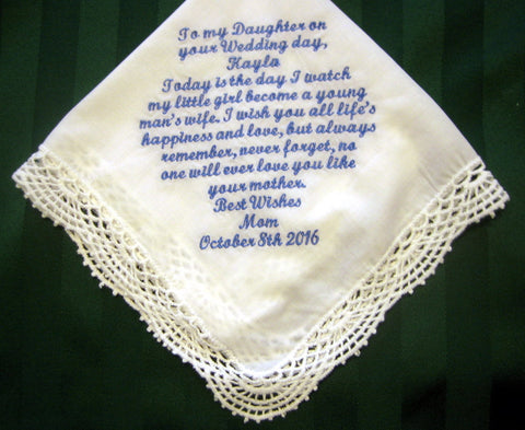 Bridal Handkerchief from Mothert to Daughter, Something blue wedding hankie 207S