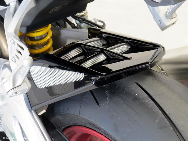 Aprilia RSV4 RF & RR 15-2019 Rear Hugger by Powerbronze Matt Black with Silver Mesh Insert