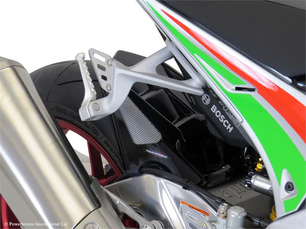 Aprilia RSV4 RF & RR 15-2019 Rear Hugger by Powerbronze Black with Silver Mesh Insert