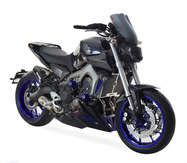 Yamaha MT-09 & FJ-09 Tracer  15-17 Rear Hugger by Powerbronze Carbon Look & Silver Mesh