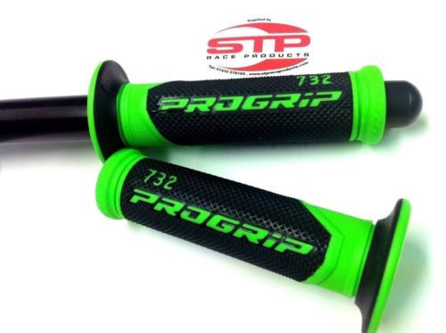 Progrip Superbike 732 Flouro Green-Black Dual Compound Grips 125mm Kawasaki.