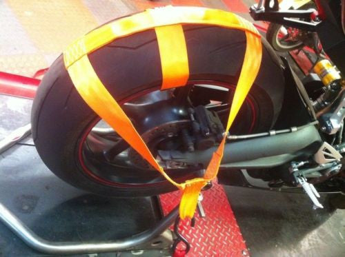Motorcycle Transport Tie Down Wheel Strap Polyester webbing Strap ORANGE BSB