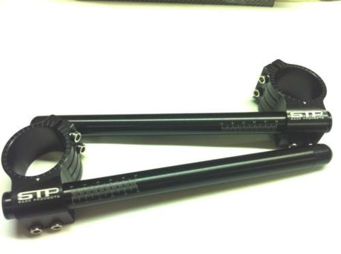 53mm STP Tek2 Calibrated road race black anodised Clip-Ons handlebars.
