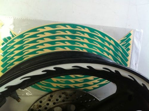 NEW MOTORCYCLE MOTORBIKE  GREEN FLUORESCENT FLAME WHEEL DECAL  STRIPES 16-19""