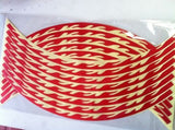 NEW MOTORCYCLE MOTORBIKE  RED FLOURESCENT FLAME WHEEL STRIPES 16-19""