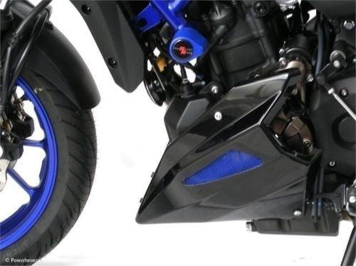 Yamaha MT-07 / FZ-07 & XSR 700 14-2019  Belly Pan Black Finish with Blue Mesh by Powerbronze