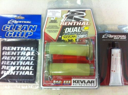 Renthal Thin Road Race Kev Dual Compound Grips Glue & Covers G175/G101/G182