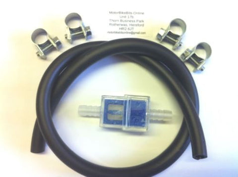 6mm BLUE SQUARE INLINE FUEL FILTER,MRC TYPE,& 1/2Mtr Hose & 4 Clips FOR CAR,bike