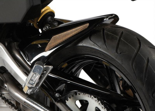 Kawasaki ER6-N & ER6-F  12-2017  Rear Hugger by Powerbronze Gloss Black & Silver Mesh
