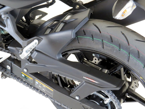 Kawasaki Ninja 400 & Z400 18-2019  Rear Hugger by Powerbronze Carbon Look & Silver Mesh