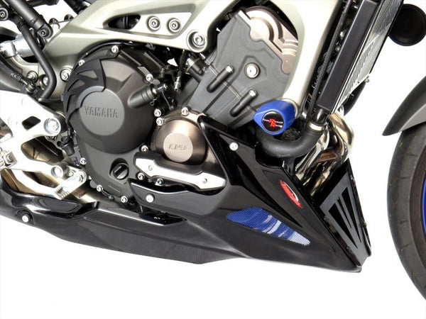 Yamaha MT-09 & FZ-09 (not Tracer) 2013-2016 Belly Pan (fits with Yamaha engine protectors) Black Finish with Silver Mesh Powerbronze