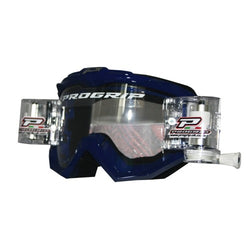 Progrip MX Motocross Race Line Goggle with RNRXL-36mm Roll Off System Blue