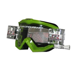Progrip MX Motocross Race Line Goggle with RNRXL-36mm Roll Off System Green