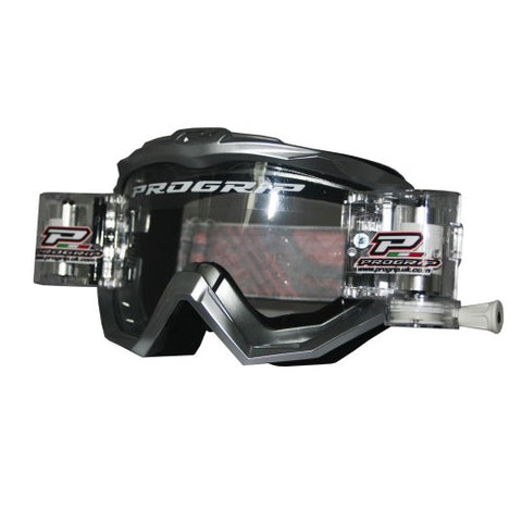 Progrip MX Motocross Race Line Goggle with RNRXL-36mm Roll Off System Silver
