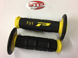 Progrip Soft Touch 791 Yellow Black MX Off Road Grips Dual Density 115mm.