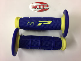 Progrip Soft Touch 791 Yellow Blue MX Off Road Grips Dual Density 115mm.
