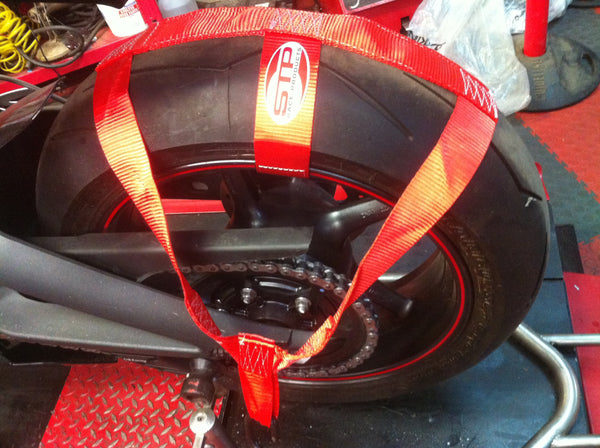 Motorcycle Transport Tie Down Wheel Strap Polyester webbing Strap RED BSB