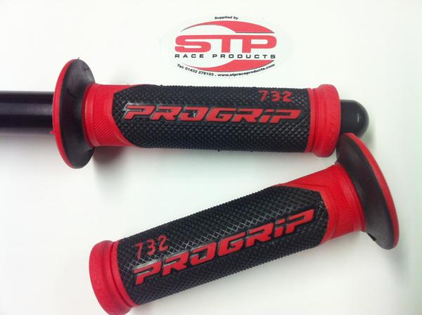 Progrip Superbike 732 Red-Black Dual Compound Grips 125mm.