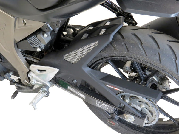 Suzuki GSXR125 17-19 & GSX-S125 17-19 Rear Hugger by Powerbronze Carbon Look & Silver Mesh.