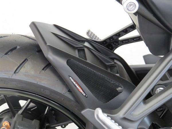 Kawasaki Z900 17-19 & Z900RS/Cafe 18-19 Rear Hugger by Powerbronze Gloss Black & Silver Mesh