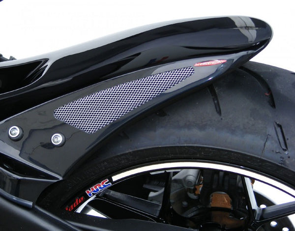 Honda CBR1000RR (non ABS)  08-2016  Rear Hugger by Powerbronze Gloss Black & Silver Mesh