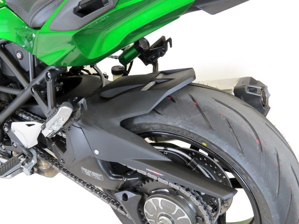 Kawasaki H2 SX & H2 SX SE 18-2020  Rear Hugger by Powerbronze Matt Black & Silver Mesh