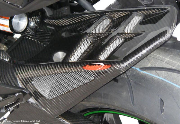 Kawasaki Z800 2013-2016 Rear Hugger by Powerbronze Gloss Black & Silver Mesh