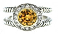 Fashion Ring With Golden Yellow Stone