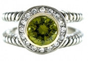 Fashion Ring With Olive Green Stone