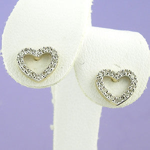 14K Diamond Earrings Small Open Hearts