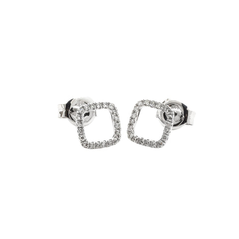 14K Diamond Earrings Open Squares