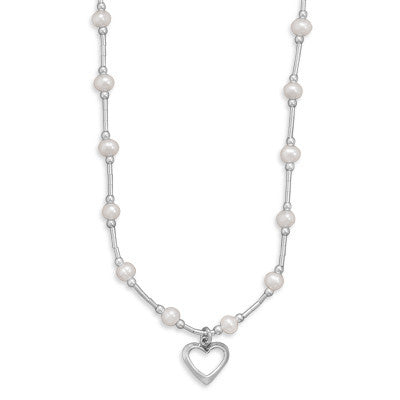 Sterling Silver Pearl With Heart