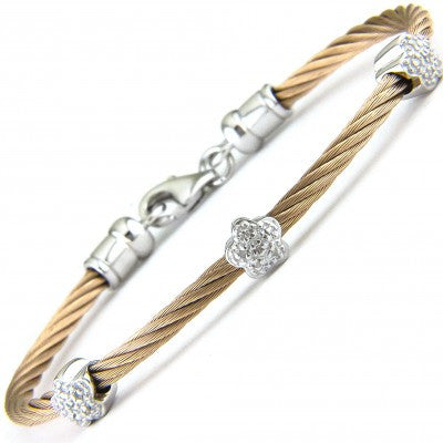 Stainless Steel Diamond Curved Flower Bangle