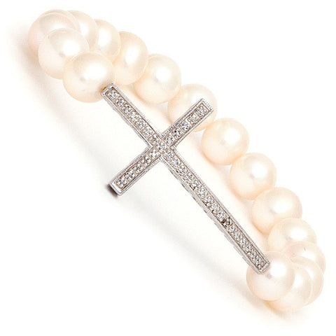 Sterling Silver Pearl Diamond Cross Bracelet