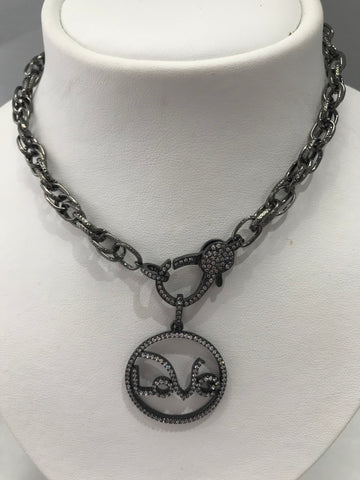 Charmed Gunmetal Link Necklace